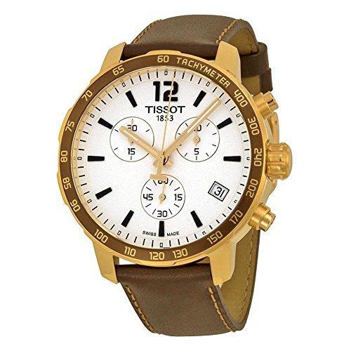 ティソ 腕時計 レディース T095.417.36.037.02 【送料無料】Tissot Quickster Chronograph Silver Dial Brown Leather Goldティソ 腕時計 レディース T095.417.36.037.02