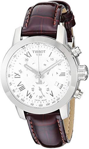 ティソ 腕時計 レディース T0552171603301 Tissot Women's PRC 200 Stainless Steel Swiss-Quartz Watch with Leather Calfskin Strap, Brown, 16 (Model: T0552171603301)ティソ 腕時計 レディース T0552171603301
