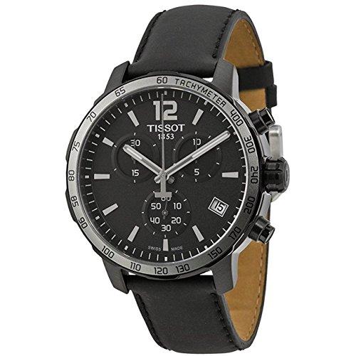 ティソ 腕時計 メンズ T095.417.36.057.02 Tissot Quickster Chronograph Black Dial Black Leather Mens Watch T0954173605702ティソ 腕時計 メンズ T095.417.36.057.02
