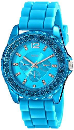 クスクス キスキス 腕時計 レディース XO8043 XOXO Women's XO8043 Rhinestone Accent Turquoise Silicone Strap Watchクスクス キスキス 腕時計 レディース XO8043