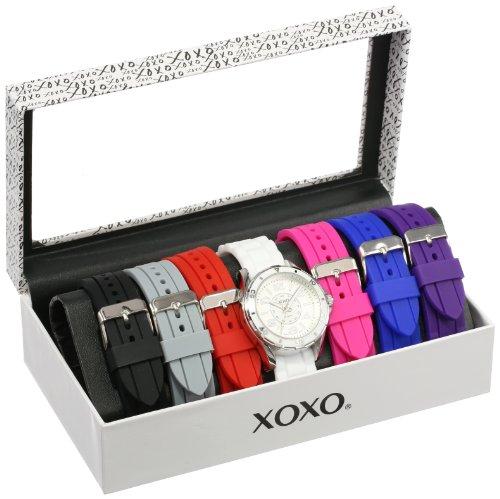 クスクス キスキス 腕時計 レディース XO9043 【送料無料】XOXO Women's Analog Watch with Silver-Tone Case, White Dial, 7 Interchangeable Bands Included - Official XOXO Woman's Silver-Tone Watch, Silicone クスクス キスキス 腕時計 レディース XO9043