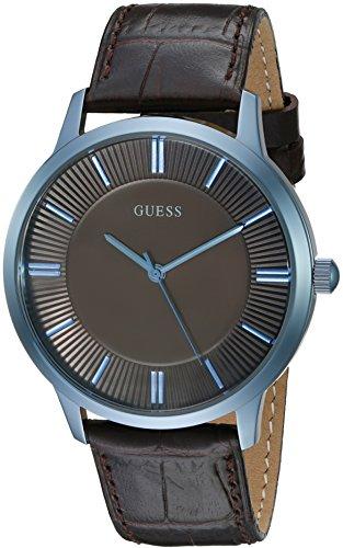 ゲス GUESS 腕時計 メンズ U0664G3 GUESS Brown Genuine Leather Dress Watch with Sky Blue Case. Color: Brown/Sky Blue (Model: U0664G3)ゲス GUESS 腕時計 メンズ U0664G3
