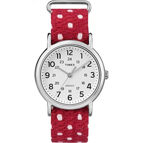 タイメックス 腕時計 メンズ TW2R10400 【送料無料】Timex Unisex TW2R104009J Weekender Red Polka Dot Fabric Over Leather Slip-Thru Strap Watchタイメックス 腕時計 メンズ TW2R10400