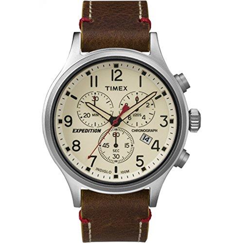 タイメックス 腕時計 メンズ TWC013900 Timex Men's TWC013900 Expedition Scout Chrono Blue/Brown Leather Strap Watchタイメックス 腕時計 メンズ TWC013900