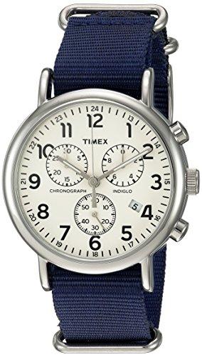 タイメックス 腕時計 メンズ TWC063800 【送料無料】Timex Unisex TWC063800 Weekender Chrono Cream/Blue Double-Layered Nylon Slip-Thru Strap Watchタイメックス 腕時計 メンズ TWC063800