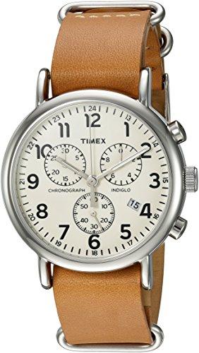 腕時計 タイメックス メンズ TWC063500 【送料無料】Timex Unisex TWC063500 Weekender Chrono Cream/Tan Double-Layered Leather Slip-Thru Strap Watch腕時計 タイメックス メンズ TWC063500