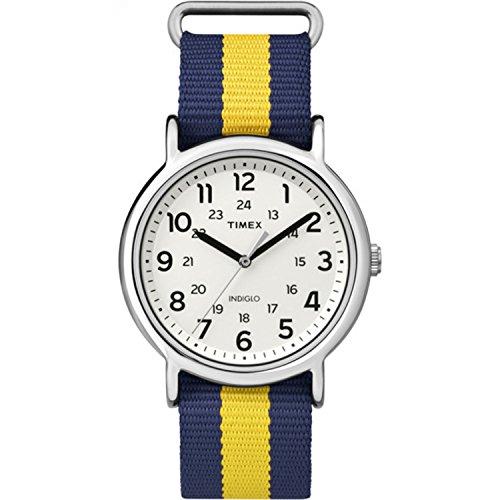 タイメックス 腕時計 メンズ TW2P67700 Timex Unisex TW2P67700 Weekender Blue/Yellow Stripe Nylon Slip-Thru Strap Watchタイメックス 腕時計 メンズ TW2P67700