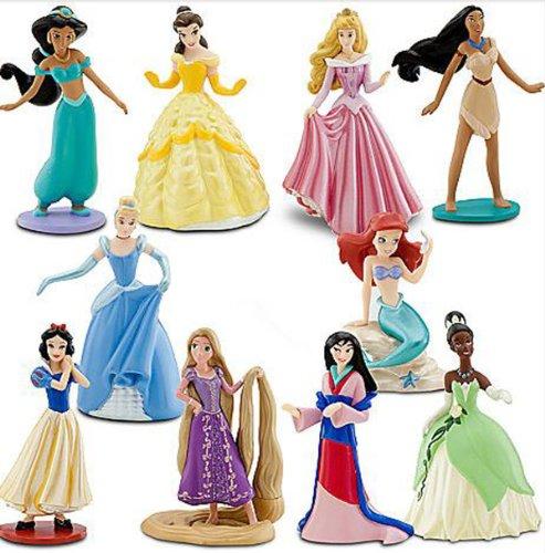 ディズニープリンセス Disney Princess Exclusive 10 Piece Deluxe Figurine Set Aurora, Ariel, Jasmine, Snow White, Tiana, Cinderella, Mulan, Pocahontas, Belle Rapunzelディズニープリンセス