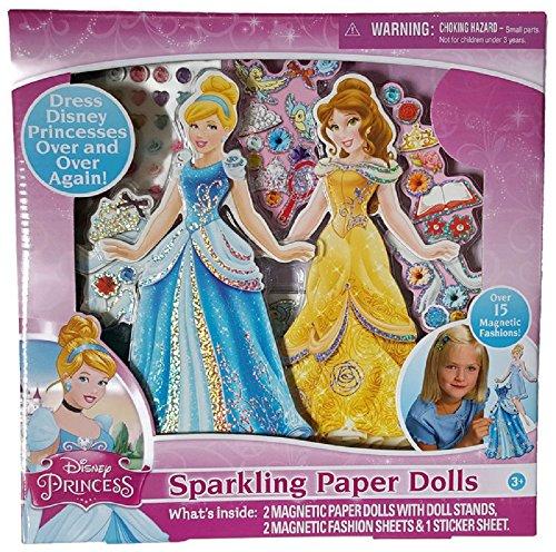 シンデレラ ディズニープリンセス Disney Princess Cinderella and Belle Magnetic Sparkling Paper Dolls Playset.シンデレラ ディズニープリンセス