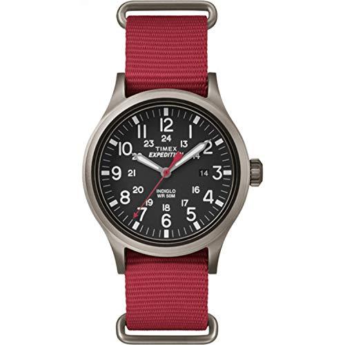 タイメックス 腕時計 メンズ TW4B04500 【送料無料】Timex Men's TW4B04500 Expedition Scout Red Nylon Slip-Thru Strap Watchタイメックス 腕時計 メンズ TW4B04500