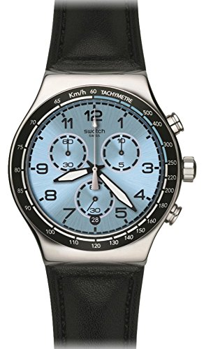 スウォッチ 腕時計 メンズ YVS421 Swatch YVS421 Conduit Blue Chronograph Date Dial Black Leather Men Watch NEWスウォッチ 腕時計 メンズ YVS421