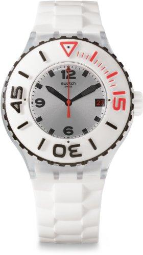 腕時計 スウォッチ メンズ 夏の腕時計特集 SUUK401 【送料無料】Swatch Bianca Silver Dial White Rubber Multifunction Quartz Men's Watch SUUK401腕時計 スウォッチ メンズ 夏の腕時計特集 SUUK401