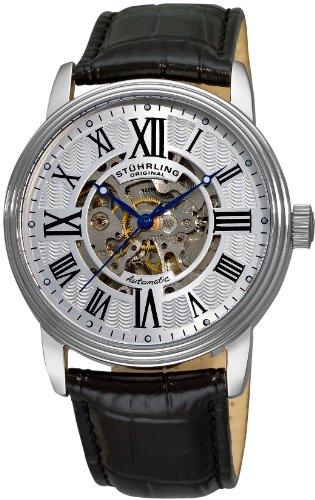 ストゥーリングオリジナル 腕時計 メンズ 1077.33152 Stuhrling Original Men's 1077.33152 Delphi Venezia Automatic Skeleton Black Leather Watchストゥーリングオリジナル 腕時計 メンズ 1077.33152