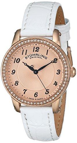 ストゥーリングオリジナル 腕時計 レディース 651.03 【送料無料】Stuhrling Original Women's Symphony Swiss Quartz Swarovski Crystal Bezel Leather Watch 651 Series (White/Rose Tone)ストゥーリングオリジナル 腕時計 レディース 651.03
