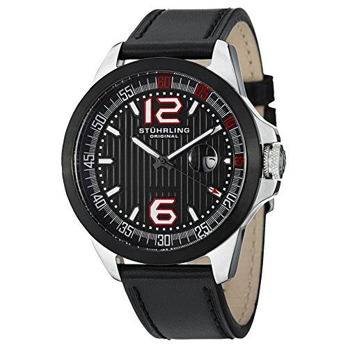 ストゥーリングオリジナル 腕時計 メンズ 175C.332D51 【送料無料】Stuhrling Original Men's 175C.332D51 Octane Grand Concorso Swiss Quartz Date Black Leather Strap Watchストゥーリングオリジナル 腕時計 メンズ 175C.332D51