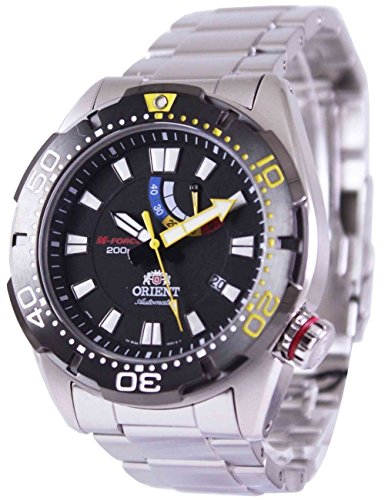 腕時計 オリエント メンズ 【送料無料】Orient M-Force Bravo Automatic Black Dive Watch with Power Reserve Meter EL0A001B腕時計 オリエント メンズ