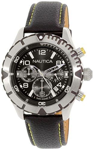 ノーティカ 腕時計 メンズ NAD20504G Nautica Men's NAD20504G Black Leather Quartz Watchノーティカ 腕時計 メンズ NAD20504G