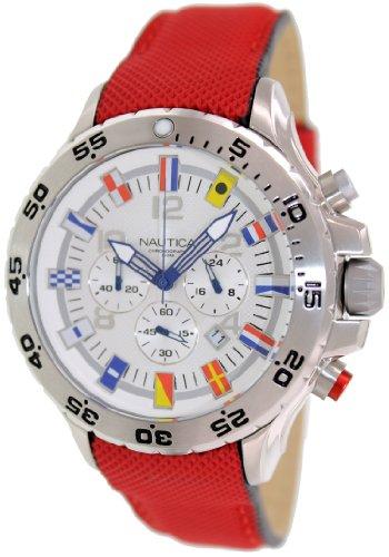 ノーティカ 腕時計 メンズ N24515G Nautica Mens NVL100 Chronograph White Dial Stainless Steel Decagon Case Red Watch N24515Gノーティカ 腕時計 メンズ N24515G
