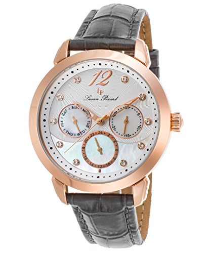 ルシアンピカール 腕時計 レディース LP-40038-RG-02MOP-GRYS Lucien Piccard Women's Rivage Stainless Steel Japanese-Quartz Watch with Leather Calfskin Strap, Grey, 17 (Model: LP-40038-RG-02MOP-GRルシアンピカール 腕時計 レディース LP-40038-RG-02MOP-GRYS