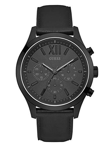 ゲス GUESS 腕時計 メンズ U0789G4 GUESS Smooth Genuine Leather Chronograph Watch with Date. Color: Black (Model: U0789G4)ゲス GUESS 腕時計 メンズ U0789G4