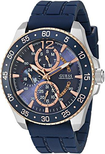 ゲス GUESS 腕時計 メンズ U0798G2 【送料無料】GUESS Men's U0798G2 Sporty Silver-Tone & Rose Gold-Tone Stainless Steel Watch with Multi-function Dial and Blue Strap Buckleゲス GUESS 腕時計 メンズ U0798G2