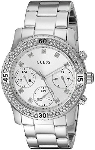 ゲス GUESS 腕時計 レディース U0851L1 【送料無料】GUESS Women's U0851L1 Sporty Silver-Tone Watch with Silver Dial , Crystal-Accented Bezel and Stainless Steel Pilot Buckleゲス GUESS 腕時計 レディース U0851L1