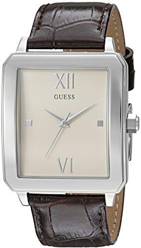 ゲス GUESS 腕時計 メンズ U0918G1 【送料無料】GUESS Men's U0918G1 Dressy Silver-Tone Watch with Plain White Dial and Genuine Leather Bandゲス GUESS 腕時計 メンズ U0918G1