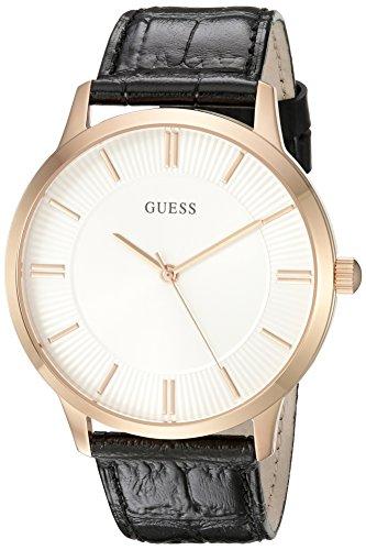腕時計 ゲス GUESS メンズ U0664G4 【送料無料】GUESS Men's U0664G4 Dressy Rose Gold-Tone Watch with Plain White Dial and Genuine Leather Strap Buckle腕時計 ゲス GUESS メンズ U0664G4