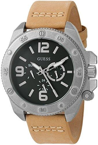 ゲス GUESS 腕時計 メンズ U0659G4 GUESS Men's U0659G4 Trendy Silver-Tone Stainless Steel Watch with Multi-function Dial and Tan Strap Buckleゲス GUESS 腕時計 メンズ U0659G4