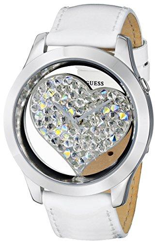 ゲス GUESS 腕時計 レディース U0113L6 【送料無料】GUESS U0113L6 Women's White and Silver-Tone Clearly Inspired Heart Watchゲス GUESS 腕時計 レディース U0113L6