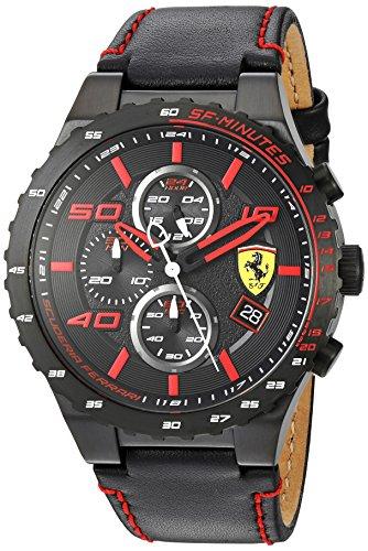 腕時計 フェラーリ メンズ 830363 【送料無料】Scuderia Ferrari Men's Stainless Steel Quartz Watch with Leather Calfskin Strap, Black, 0.63 (Model: 830363)腕時計 フェラーリ メンズ 830363
