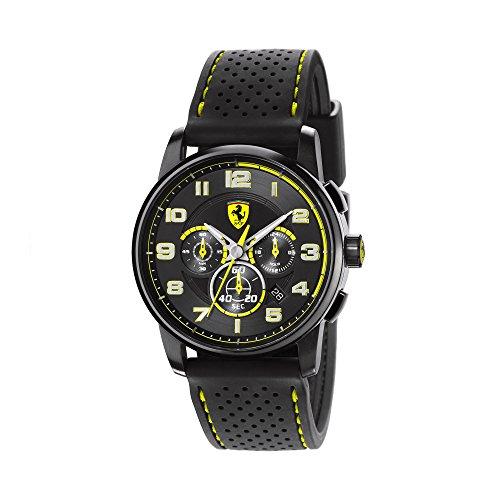 フェラーリ 腕時計 メンズ 830061 Ferrari Heritage Chronograph Black and Yellow Dial Black Silicone Mens Watch 830061フェラーリ 腕時計 メンズ 830061