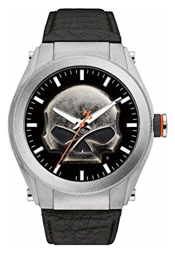 ブローバ 腕時計 メンズ 76A156 【送料無料】Harley-Davidson Men's Multi-Layer Willie G Skull Medallion Watch, Leather 76A156ブローバ 腕時計 メンズ 76A156