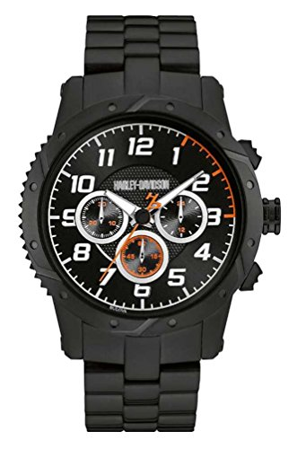 腕時計 ブローバ メンズ 78B138 【送料無料】Harley-Davidson Mens Chronograph Brake Plate Watch, Black Stainless Steel 78B138腕時計 ブローバ メンズ 78B138