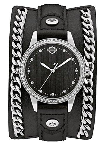 ブローバ 腕時計 レディース Harley-Davidson Womens B&S Crystal Bezel Chain with Leather Cuff Watchブローバ 腕時計 レディース