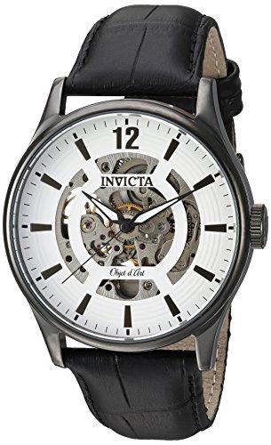 インヴィクタ インビクタ 腕時計 メンズ 22597 【送料無料】Invicta Men's Objet D Art Stainless Steel Automatic-self-Wind Watch with Leather-Calfskin Strap, Black, 24 (Model: 22597)インヴィクタ インビクタ 腕時計 メンズ 22597