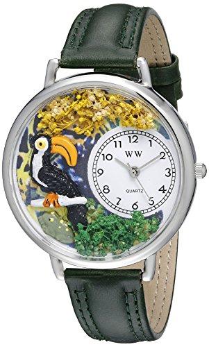 気まぐれな腕時計 かわいい プレゼント クリスマス ユニセックス WHIMS-U0150012 Whimsical Watches Unisex U0150012 Toucan Hunter Green Leather Watch気まぐれな腕時計 かわいい プレゼント クリスマス ユニセックス WHIMS-U0150012