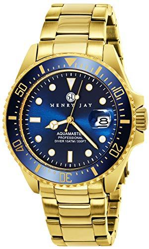 """ヘンリージェイ 腕時計 メンズ HJ2005.2 【送料無料】Henry Jay Mens 23K Gold Plated Stainless Steel """"Specialty Aquamaster"""" Professional Dive Watchヘンリージェイ 腕時計 メンズ HJ2005.2"""