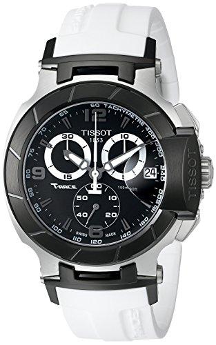 ティソ 腕時計 メンズ T0484172705705 【送料無料】Tissot Men's T0484172705705 T-Race Black Chronograph Watch with White Rubber Strapティソ 腕時計 メンズ T0484172705705
