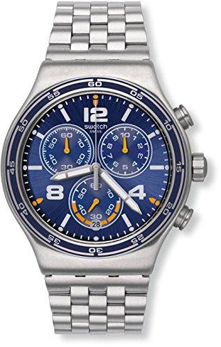 スウォッチ 腕時計 メンズ YVS430G Swatch Irony Destination Barcelona Blue Dial Stainless Steel Men's Watch YVS430Gスウォッチ 腕時計 メンズ YVS430G