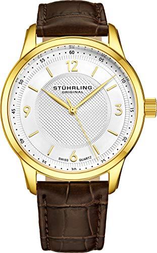 ストゥーリングオリジナル 腕時計 メンズ 572.03 Stuhrling Original Men's 572.03 Classique Gold-Tone Stainless Steel Watch with Brown Leather Bandストゥーリングオリジナル 腕時計 メンズ 572.03