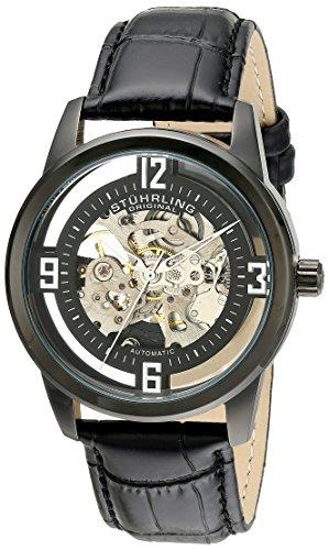ストゥーリングオリジナル 腕時計 メンズ 877.06 【送料無料】Stuhrling Original Men's 877.06 Winchester Automatic Self-Wind Skeleton Black Genuine Leather Strap Watchストゥーリングオリジナル 腕時計 メンズ 877.06