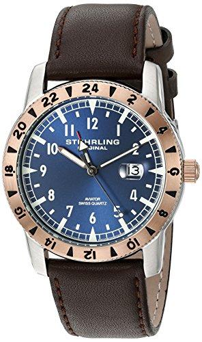 ストゥーリングオリジナル 腕時計 メンズ 818C.03 【送料無料】Stuhrling Original Men's 'Aviator' Swiss Quartz Stainless Steel and Brown Leather Casual Watch (Model: 818C.03)ストゥーリングオリジナル 腕時計 メンズ 818C.03