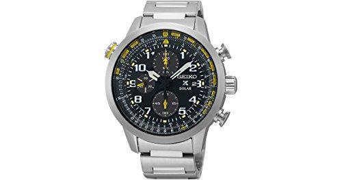 セイコー 腕時計 メンズ SSC369 【送料無料】Seiko Black Dial Stainless Steel Chronograph Quartz Men's Watch SSC369セイコー 腕時計 メンズ SSC369