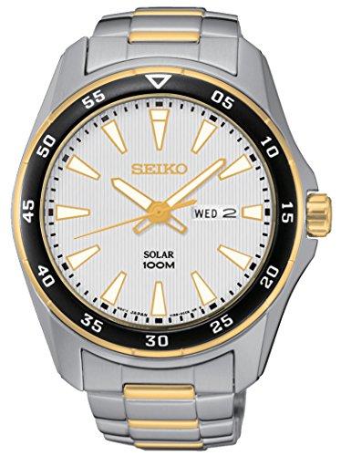 腕時計 セイコー メンズ Solar 【送料無料】Seiko Solar Two Tone Stainless Steel White Dial Mens Watch SNE394 by Seiko Watches腕時計 セイコー メンズ Solar