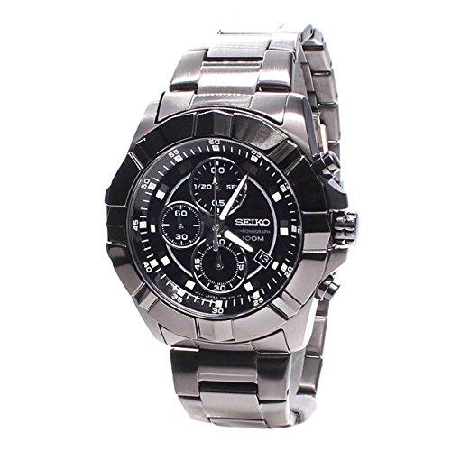 セイコー 腕時計 メンズ Seiko Black Dial Chronograph Black PVD Stainless Steel Mens Watch SNDD77セイコー 腕時計 メンズ