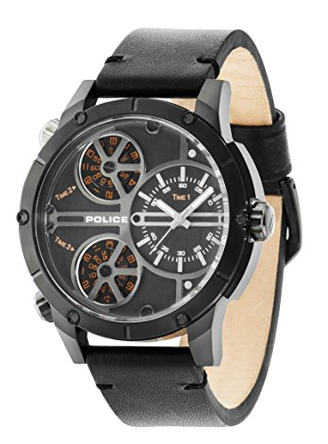 ポリス 腕時計 メンズ 14699JSB/02 Police Men's 50mm Black Leather Band Steel Case Quartz Analog Watch 14699JSB/02ポリス 腕時計 メンズ 14699JSB/02