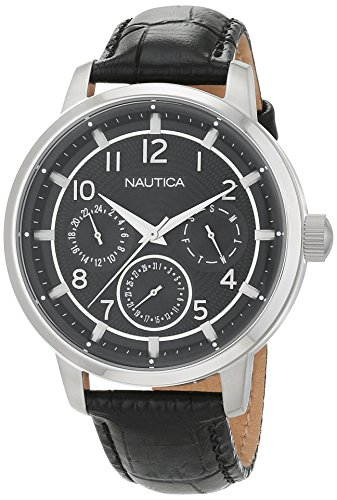 ノーティカ 腕時計 メンズ NAD13545G Nautica Men's NCT 15 Multi II Stainless Steel Quartz Watch with Leather Strap, Black, 22 (Model: NAD13545Gノーティカ 腕時計 メンズ NAD13545G