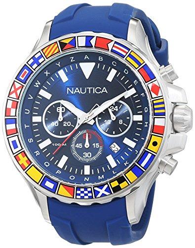 ノーティカ 腕時計 メンズ NAD19562G Nautica Men's 'NST 1000 Flags' Quartz Stainless Steel and Silicone Casual Watch, Color:Blue (Model: NAD19562G)ノーティカ 腕時計 メンズ NAD19562G
