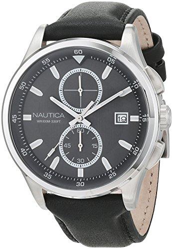 ノーティカ 腕時計 メンズ NAD16538G Nautica Men's NCT 19 Stainless Steel Quartz Watch with Leather Calfskin Strap, Black, 22 (Model: NAD16538G)ノーティカ 腕時計 メンズ NAD16538G
